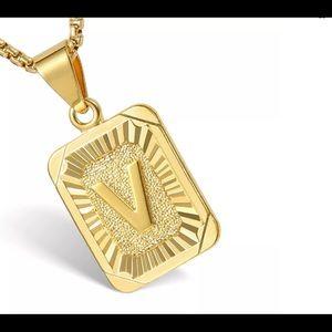 """Gold Filled Letter V Pendant 18"""" Long Necklace"""